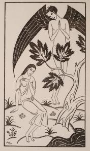 La imagen muestra una ilustración hecha a base de líneas, en blanco y negro donde se aprecia a una joven sentada sobre un montículo de tierra, llevándose la mano izquierda al corazón, con gesto humilde mientras a su lado y tras un árbol, surge la figura de un ángel de grandes alas negras. El conjunto tiene un aspecto arcaico, como si fuera un dibujo medieval. Pulse para ampliar.