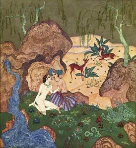 La imagen muestra u paisaje con un río, rocas, un prado y algunos árboles, donde pacen un par de cervatillos. Al lado del río, y apoyados en una de las rocas, están un hombre y una mujer, Él vestido sólo con unos amplios pantalones a rayas y un turbante. Ella, completamente desnuda. Se abrazan y sus rostros se acercan como para besarse. Pulse para ampliar.