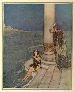 La imagen muestra a dos personajes en una escalinata de mármol que desciende hasta el mar. En pie, apoyado en una columna, está un hombre vestido con ropas lujosas. Sentada en el último de los escalones, con los pies aún sumergidos en el mar, está una muchacha desnuda, que cubre su cuerpo con algas de color marrón y que alza la vista hacia el hombre con una expresión de tristeza. Pulse para ampliar.