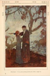 La imagen muestra una escena en la que aparecen un hombre maduro, con una larga barba blanca y vestido con una túnica larga. Frente a él hay una muchacha joven, su hija, que se dirige a él poniendo las manos en su pecho y mirándole con gesto implorante. El hombre extiende su brazo derecho sobre el hombro de la joven . Ambos están delante de un árbol retorcido y sin hojas que se yergue ante una costa abrupta. Pulse para ampliar.