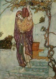 La imagen muestra a una mujer joven, vestida a la manera árabe, que baja por las escaleras de una casa de paredes blancas. Lleva sobre su hombro izquierdo un ánfora (se supone que de vino). Los tonos de la ilustración son apagados, el cielo y los muros de la casa tienden al gris. Pulse para ampliar.