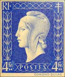 La imagen muestra un sello de correos, de forma cuadrada, en el que se ve el perfil de la personificación femenina de Francia (llamada Marianne) tocada con el gorro frigio revolucionario. Los bordes están decorados con una orla vegetal y con espirales. Pulse para ampliar.