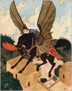 La imagen muestra a un hombre subido a un caballo negro alado que se eleva sobre los tejados de una ciudad de casas de adobe de color tierra. Pulse para ampliar.