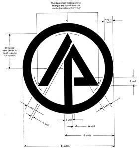 """La imagen muestra un logotipo que consta de un circulo en el que está inscrito un signo en forma de flecha que, de algún modo recuerda la forma de un abeto. Los elementos que conforman la flecha están separados en dos partes de modo que uno de los lados del vector puede leerse como una letra """"I"""" en diagonal y la otra una """"P"""" (iniciales de International Paper). Pulse para ampliar."""