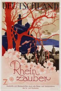 La imagen muestra un cartel en el que, en primer plano aparece un macizo de flores rosas. Justo detrás de él, la silueta en rojo de un árbol y detrás, la silueta en azul de lo que apetece una edificación de gran tamaño. Pulse para ampliar.