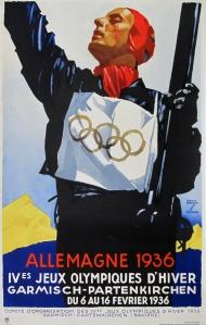 La imagen muestra un cartel en el que aparece la figura de un esquiador en plano medio, luciendo un dorsal blanco con los cinco aros olímpicos, sosteniendo los esquíes con la mano izquierda y alzando la mano derecha a modo de saludo. Pulse para ampliar.