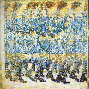 La imagen muestra un cuadro, realizado a base de grandes pinceladas sueltas de forma cuadrangular, en el que parece verse (no hay una línea que enmarque los contornos, así que todo es impresión) la secuencia de una niña con un vestido azul y botines negros corriendo tras los barrotes de un balcón. En realidad el artista ha pintado varias niñas superpuestas en sus perfiles que dan la sensación de que es una sola muchacha dejando tras de sí la estela de su carrera, como si se tratase del aire que mueve con su carrera. Pulse para ampliar.