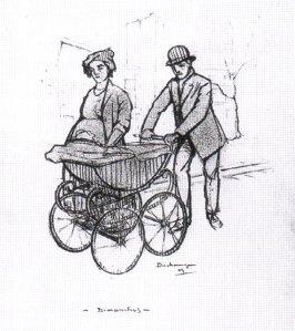 La imagen muestra un dibujo con trazo grueso en el que se ven a un hombre y una mujer paseando por una calle. El hombre empuja un cochecito de bebé y la mujer camina a su lado. Aunque el cochecito tapa la mitad de su cuerpo puede apreciarse que está en avanzado estado de gestación. Ambos tienen una expresión bastante malhumorada. Pulse para ampliar.