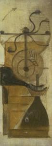 La imagen muestra un cuadro rectangular y vertical en el que se puede ver una especie de máquina indefinida. Es como un molinillo de café manual pero está como desplegado en sus partes, de modo que se aprecia la parte inferior redondeada, la parte superior con forma de tronco de cono invertido y la manivela para hacer girar el molino. Esta última pieza aparece como si de varias manivelas se tratasen organizadas en torno a un eje único, dando la sensación de que está girando. La máquina es comprensible si se ve ve cada una de sus partes por separado, porque el conjunto podría significar un molinillo de café o una imprenta, indistintamente. Pulse para ampliar.