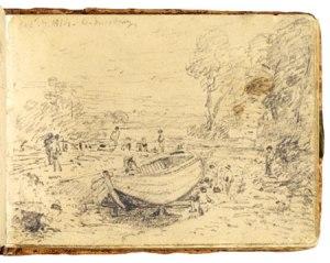 La imagen muestra una página de una libreta horizontal donde, trazado a lápiz está un dibujo muy sumario en el que aparece, en primer plano, una barca apuntalada en la orilla del río, la orilla del mismo un poco más alejada y una serie de árboles a ambos lados de la composición. Pulse para ampliar.