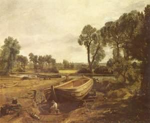 La imagen muestra un cuadro que repite casi literalmente el esquema del boceto anterior: la barca, la orilla del río un poco más alejada, los grupos de árboles a ambos lados. Añade una figura arrodillada delante de la barca que representa a un hombre trabajando la madera. Pulse para ampliar.