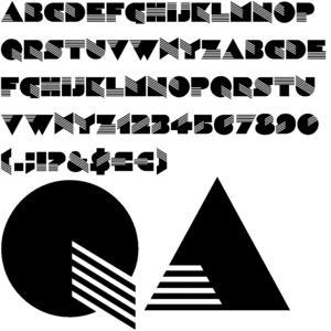 La imagen muestra un ejemplo de la tipografía diseñada por Tissi. Está sólo en mayúsculas porque tiene un elemento decorativo a base de líneas que haría muy difícil adaptar en las minúsculas. El rasgo más característico de esta tipografía es que los palos transversales (por ejemplo el de la A), se sitúan de modo más diagonal y en lugar de estar formados por un solo trazo, están formados por varias líneas. Pulse para ampliar.