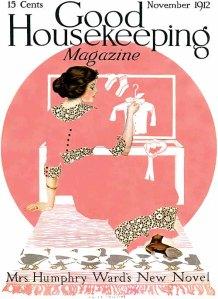 La imagen muestra una ilustración en la que aparece en la parte de arriba el nombre de la publicación. Inmediatamente debajo, un gran círculo de color rosado superpuesto a ese fondo blanco y sobre el círculo un baúl blanco abierto. Delante del baúl, una mujer joven tumbada en el suelo, sacando ropa (que parece de un niño por el tamaño) del baúl. El vestido de la mujer es del mismo color que el círculo rosa, de manera que figura y fornido tienden a confundirse. Las partes más definidas de la ilustración son, como siempre, el rostros, los detalles del vestido (cuello, puños, cintura y bajos), brazos y pies. Pulse para ampliar.