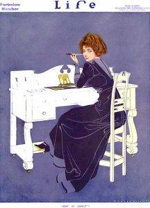 La imagen muestra una ilustración en la que el fondo es color violeta. Sobre ese fondo se recorta la figura blanca de un escritorio. Ante ese escritorio se sienta una mujer joven, de espaldas a nosotros, pero que tiene la cabeza girada hacia el espectador. Apoya los codos sobre el escritorio y tiene una pluma en la mano izquierda que apoya pensativamente en el mentón. Su vestido es de color violeta también, pero un tono más oscuro que el del fondo salvo para las mangas, los bajos de la falda y la espalda, lo que hace que su figura en esas partes, se funda con el fondo. Pulse para ampliar.