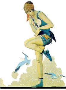 La imagen muestra una ilustración de una joven vestida con un bañador con cuerpo de tirantes y pantalón corto. Se sostiene sobre una pierna mientras eleva la otra para tocar, mientras en su cara se advierte un gesto de preocupación, la piel de su muslo. Al fondo puede adivinarse una playa y el mar. y a su alrededor vuelan gaviotas. Pulse para ampliar.