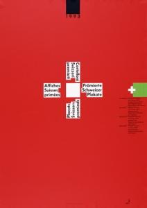 La imagen muestra un carte con el fondo rojo sobre el que destaca, en la parte central y ligeramente desplazada hacia arriba, una cruz griega (con los cuatro brazos iguales) formada por un cuadrado blanco en el centro al que se adosan en sua cuatro lados, cuatro textos sobre fondo blanco donde se explica el tema y objeto de la exposición. En la parte superior, en el centro, un cuadrado negro con la fecha (1993) y en la parte derecha, ligeramente desplazado hacia arriba, un cuadrado verde bajo el que aprace en texto diminuto los artistas que exponen. Pulse para ampliar.