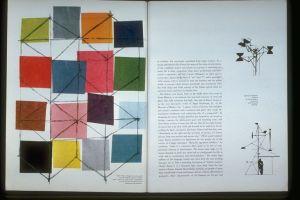 La imagen muestra una doble página de una revista. En la parte izquierda se ve una ilustración formada por múltiples cuadrados de colores unidos por líneas negras superpuestas a ellos. En la parte derecha, el texto del artículo con dos ilustraciones en el márgen, muy amplio. Pulse para ampliar.