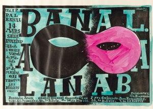 La imagen muestra un cartel en formato rectangular horizontal. En el medio hay un gran antifaz mitad negro y mitad rosa. Alrededor del antifaz se distribuyen las letras que anuncian el baile y en el lateral, el programa del mismo. Pulse para ampliar.