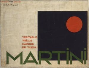 La imagen muestra un cartel rectangular horizontal en el que sobre fondo blanco se aprecia, a la derecha un gran cuadrado negro. En la esquina superior de ese cuadrado negro aparece un círculo rojo. En la parte inferimos, superponiéndose al cuadrado negro, las letras de la marca (MARTINI) en verde. Pulse para ampliar.