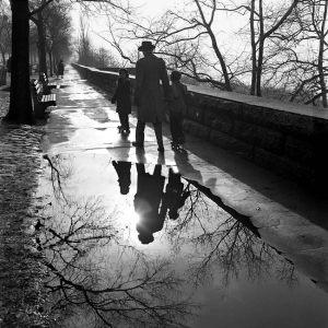 La imagen muestra una acera mojada por la lluvia. A la izquierda se ven una serie de árboles en fila y entre ellos, bancos de madera. A la derecha, un muro poco elevado. Al otro lado de ese muro se aprecian árboles con las ramas desnudas. En el medio de la imagen, hacia la parte superior, se pueden ver las siluetas (la fotografía es un contraluz, así que las figuras son como sombras) de un hombre que lleva de las manos a dos niños pequeños. Sus figuras se ven reflejadas en el charco que el agua ha formado en la acera. Pulse para ampliar.