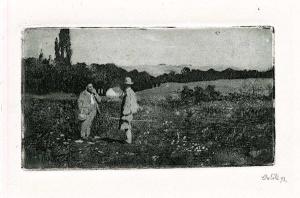 La imagen muestra un grabado en blanco y negro donde se aprecia un paisaje llano, con árboles al fondo. En un primer plano, hacia la izquierda del encuadre, aparecen dos hombres que conversan animadamente como si acabaran de encontrarse dando un paseo. Pulse para ampliar.