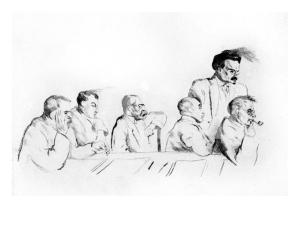 La imagen muestra un grabado en blanco y negro, realizado a base de líneas, en el que se ve a un grupo de sien hombres. Cinco están sentados apoyandose sobre una mesa con gesto pensativo. Todos miran hacia la derecha y de pie, está león Trotsky con gesto enfadado. Pulse para ampliar.