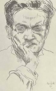 La imagen muestra un grabado hecho a base de líneas en el que se aprecia el rostro de un hombre de pelo negro y abundante peinado hacia atrás. Lleva gafas y apoya la mano en la mejilla, mientras su dedo meñique se apoya en los labios. Pulse para ampliar.