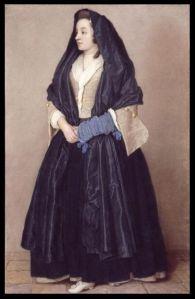 La imagen muestra a una muchacha de cuerpo entero mirando hacia la izquierda. Viste falda y manto negro, corpiño ocre y manguitos azules. En los pliegues de la falda pueden apreciarse los brillos que la luz produce sobre el tejido, liso y brillante. Pulse para ampliar.
