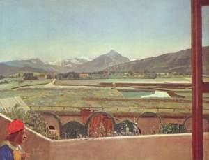 La imagen muestra un paisaje de un campo atravesado por un arroyo y, a lo lejos, el perfil de las montañas. En primer plano se ve un muro y una especie de valla que parece acotar un pequeño jardín. En la parte inferior izquierda aparece el busto del pintor, ataviado con camisola azul y bonete rojo. Lleva un lápiz en la mano. Pulse para ampliar.