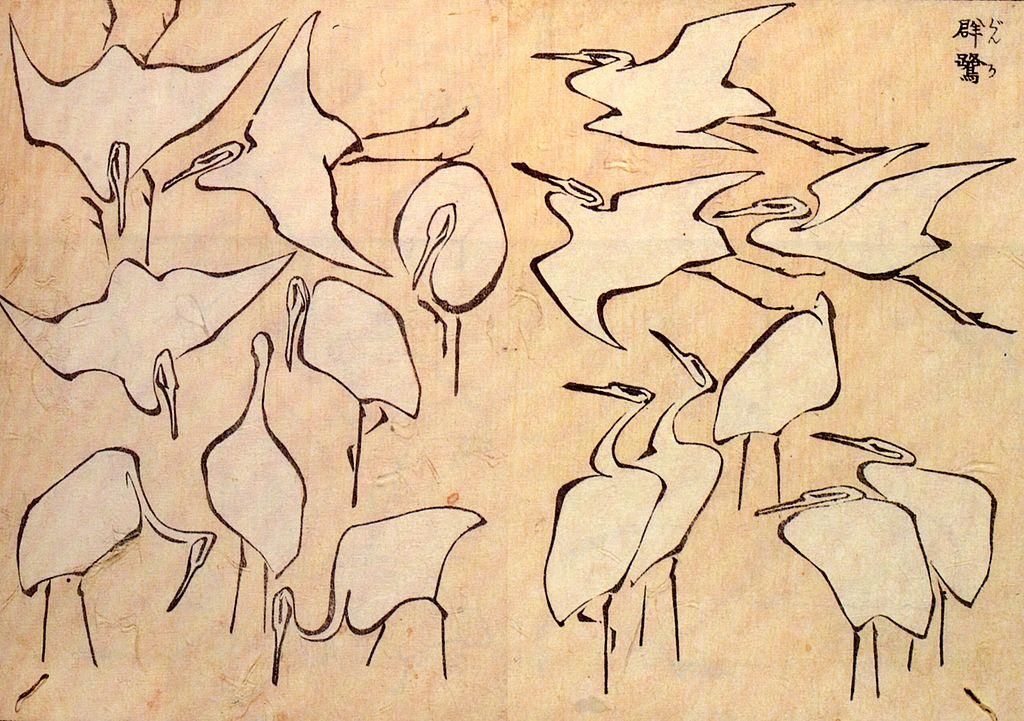 La imagen muestra una página llena con pequeños dibujos de grullas en diversas actitudes: unas seis volando con las alas extendidas, dos en pie picoteando en el suelo, una descansando apoyada en una sola para, dos parejas de pájaros levantando la vista al cielo. Todos los dibujos son muy elementales, realizados casi con un solo trazo y sin detalles, sin embargo la actitud de los animales está muy bien conseguida. Pulse para ampliar.