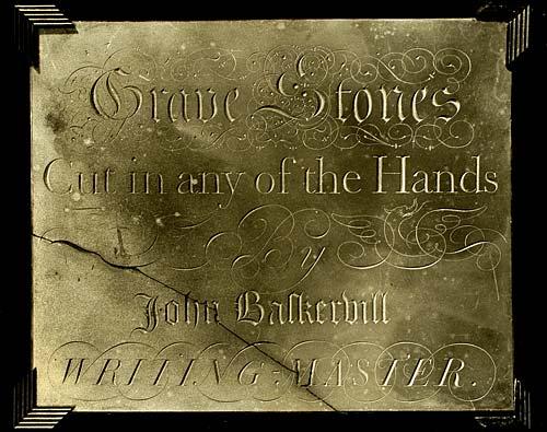 John Baskerville anuncio de talla de lápidas