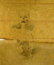 La imagen muestra un dibujo hecho a lápiz donde se aprecia en la parte superior un rostro humano de forma cadavérica, sin ojos pero con piel muy pegada a los huesos. Se adivina también parte del tronco y de la caja torácica. Pulse para ampliar