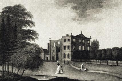 La imagen muestra un grabado en blanco y negro de un paisaje con una gran casa al fondo ante la cual aparece un camino de acceso flanqueado por árboles. Pulse para ampliar.