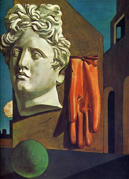 La imagen muestra lo que parece ser la azotea de un edificio. Sobre una pared en el medio del encuadre está pegada la cabeza de escayola de una escultura clásica. A su lado, y del mismo tamaño que la cabeza, aparece clavado un guante de piel. Y en primer plano, una pelota de cuero cosido de color verde. Pulse para ampliar.