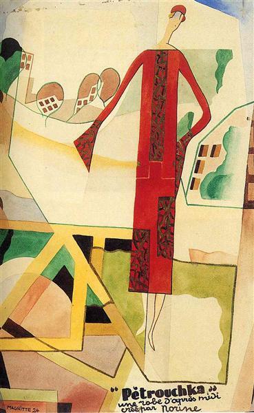 La imagen muestra un cartel en el que destaca, a la derecha, la figura de una mujer, realizada de modo bastante geométrico, vestida con un traje rojo y tocada con un sombrerito del mismo color. Tras ella se aprecia un paisaje también muy geométrico y fragmentado, como visto desde diferentes puntos de vista. Y en la parte inferior derecha un texto con los datos del modelo (Petrouchka) y de la casa de confección (Norine)