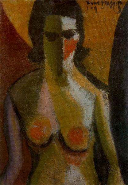La imagen muestra un cuadro que representa a una mujer vista en plano medio (cortada a la altura de la cintura). Está pintada con trazos gruesos y colores vivos. Pulse para ampliar.