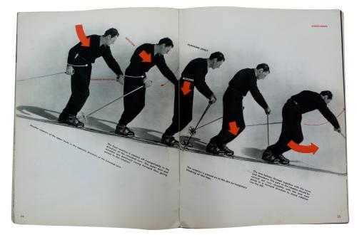 La imagen muestra una doble página en la que se secuencia a base de varias fotografías seguidas, la correcta posición del cuerpo en el descenso. La dirección y la fuerza de los movimientos está señalado con flechas rojas sobre el cuerpo. Pulse para ampliar.