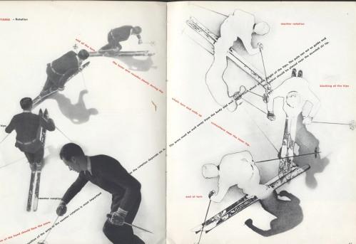 La imagen muestra una doble página del manual de esquí. En cada página aparece diversas fotografías en las que Allais ejecuta un giro. Están tomadas desde un punto de vista muy elevado, dejando ver la postura del cuerpo, la posición de los esquíes. Pulse para ampliar.