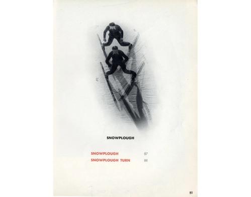 La imagen muestra una página donde se muestra un ejemplo de giro con los esquíes en cuña. Pulse para ampliar.