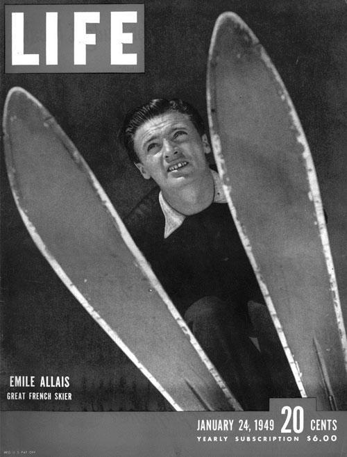 Portada de la revista LIFE donde se ve una fotografía de Allai tomada desde abajo. En primer plano están sus esquíes y él se ve agachado sobre ellos, como si estuviera preparado para saltar. Pulse para ampliar.