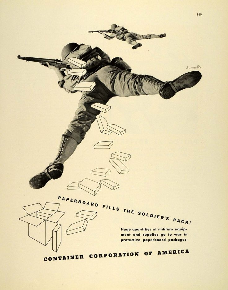 La imagen muestra un cartel en el que en la parte superior se ve un soldado tumbado en el suelo y otro, de menor tamaño, un poco más arriba. Ambos están en posición de disparar y superpuestos a ellos aparecen dibujos de contenedores de cartón para provisiones con el lema
