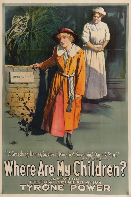 """Cartel de publicidad de la película """"Where Are My Children?"""" donde puede verse a una mujer joven con gesto compungido apoyándose en una estatua en medio de un ardid, mientras que tras ella otra mujer vestida de enfermera la observa con gesto compasivo. Pulse para ampliar."""