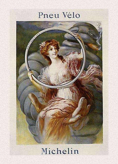 Publicidad de neumáticos Michelin (principios del siglo XX). En el cartel aparece una mujer hermosa y delicada sostenida por la mano gigante del emblema de la casa, diseñado por Marius Roussillon, como una adaptación de l relato de la Bella y la Bestia.