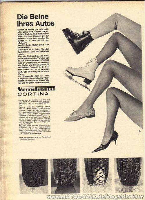 Años 60 Pirelli Las piernas de su auto