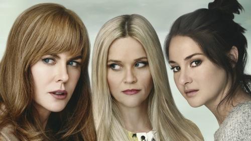 Fotografia promocional de Big Little Lies con sus protagonistas Nicole Kidman, Reese Witherspoon y Shailene Woodley