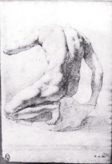 La imagen representa un dibujo a lápiz de un cuerpo masculino desnudo semiarrodillado de espaldas. Pulse para ampliar.