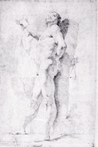 La imagen representa un dibujo a lápiz de un hombre desnudo de pié con un brazo extendido al frente y otro cruzado tras la espalda. Pulse para ampliar.