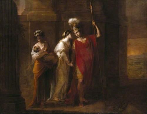 La imagen muestra una composición con tres figuras de pie. A la izquierda una criada que sostiene en brazos a un bebé, en el medio una mujer compungida con el rostro vuelto hacia la tercera figura, que es un hombre vestido de guerrero, que coge de la mano a la mujer mientras mira con tristeza al niño. Pulse para ampliar.