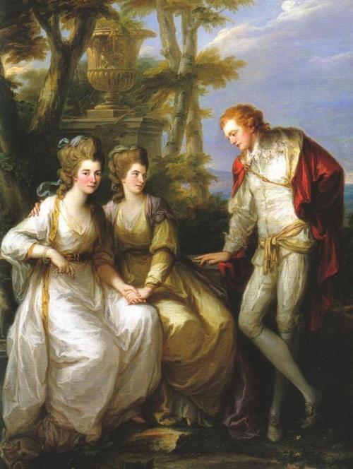 la imagen muestra un plano general donde aparecen, a la izquierda y sentadas, Georgiana y Henrrieta Frances, cogidas de la mano. georgiana mira al espectador mientras que Henrietta Frances mira a su hermano que está en pie a su lado. Pulse para ampliar.
