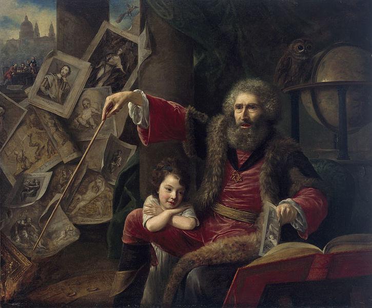 La imagen muestra a un anciano sentado en un sillón con una niña que se apoya descaradamente sobre su rodilla. El anciano lleva una varita en su mano derecha y va señalando grabados y dibujos. Pulse para ampliar.